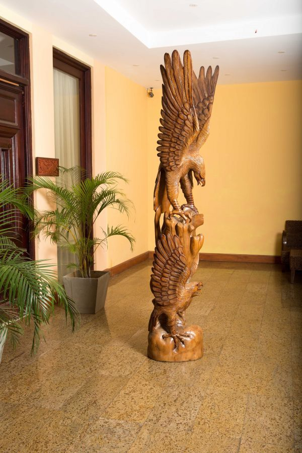 Mara Wood Sculpture By Sculptor Roxanne Pocha Titled Wild Eagle
