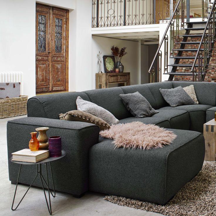 Hoekbank barletta in vele opstellingen stoffen en kleuren leverbaar van maron meubels - Rechthoekige lederen pouf ...