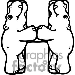 Letter H Hippo Or Hippopotamus Clipart Royalty Free
