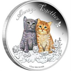 Celebrate the loyal and loving companionship of cats and kittens | Always Together 2015 1/2oz Silver Proof Coin