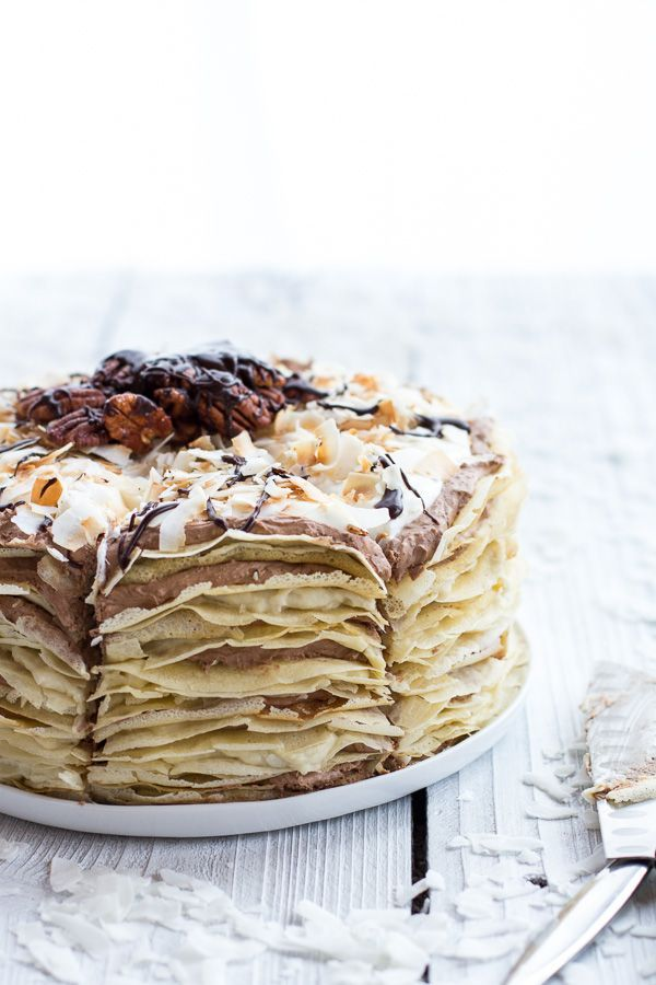 Toasted Coconut Cream Rum and Chocolate Mousse Crepe Cake | halfbakedharvest.com