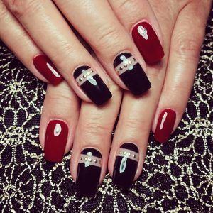 black nail designs for prom
