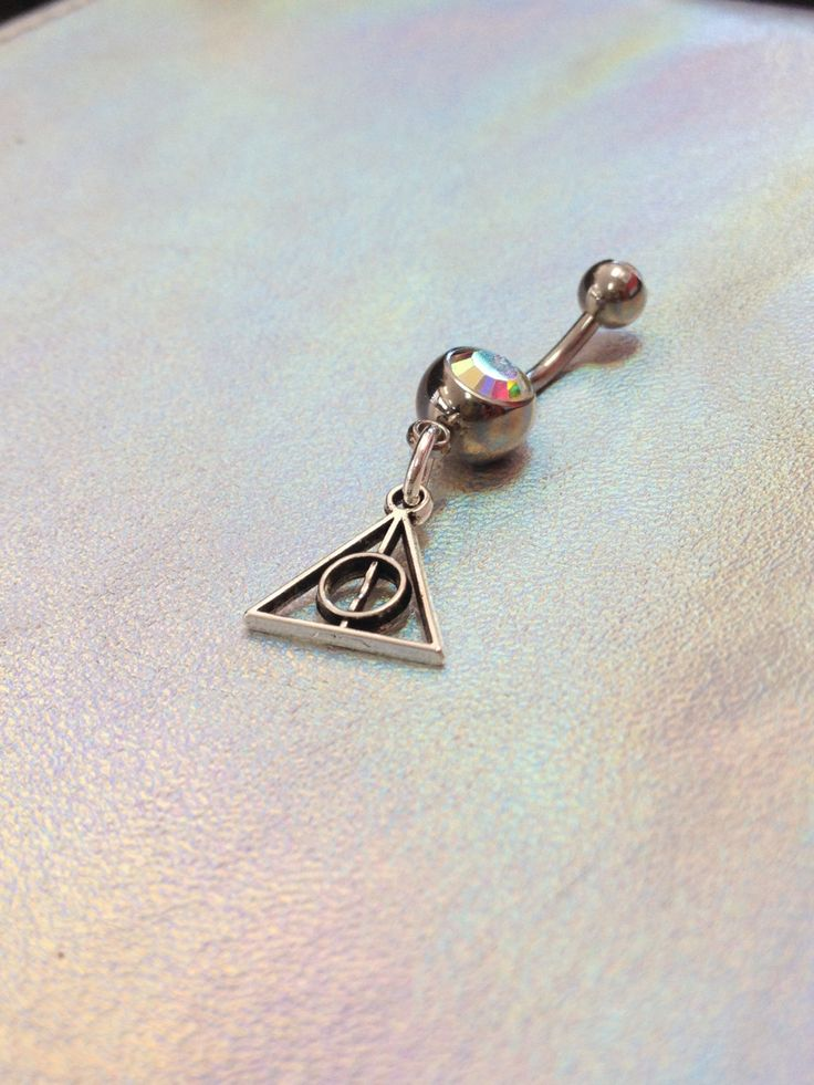 14g Belly Button Jewelry with 'Deathly Hallows' Tiny Charm by DarlingDyesApparel…