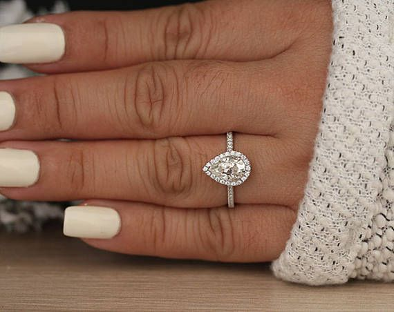 Moissanite Engagement Ring, Pear 9x6mm Forever Classic Moissanite and Diamond Halo White Gold Ring, Promise Ring, Diamond Ring
