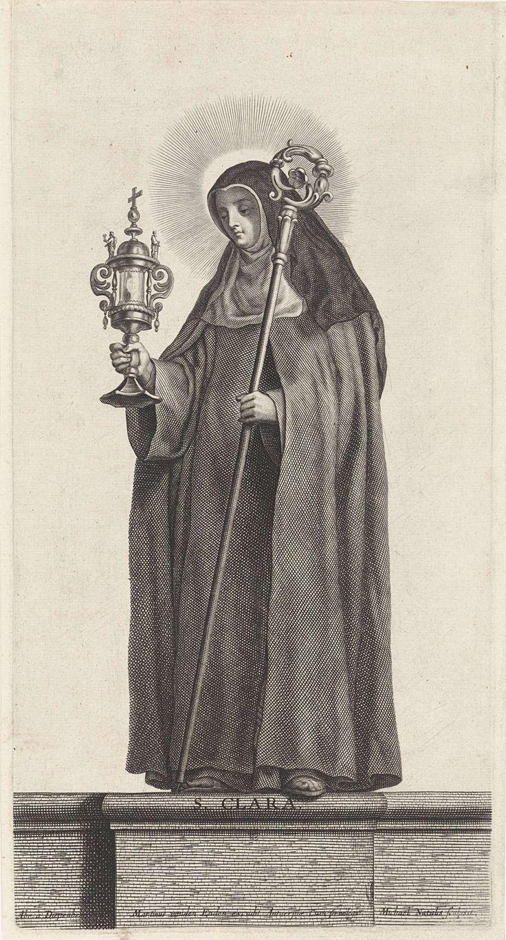 Michel Natalis   De heilige Clara, Michel Natalis, Martinus van den Enden, unknown, 1620 - 1668   De heilige Clara, gekleed in habijt met witte kap en zwarte sluier, in haar ene hand een monstrans en in haar andere hand een staf. Prent uit een serie van heiligen.