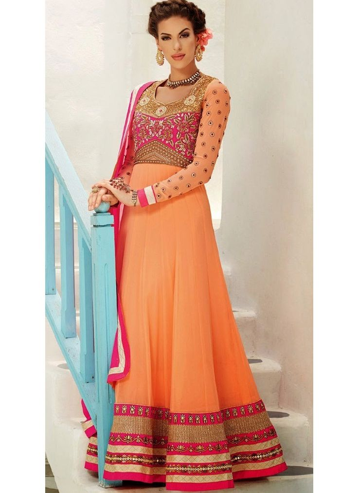 Peach and Pink Floor Length Anarkali