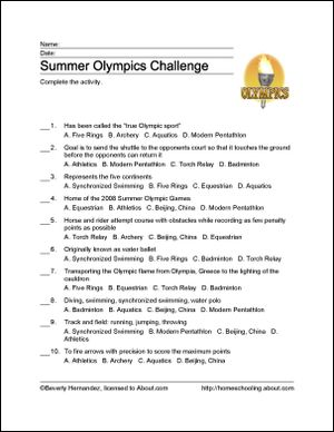 Summer Olympics Printables: Summer Olympics Challenge