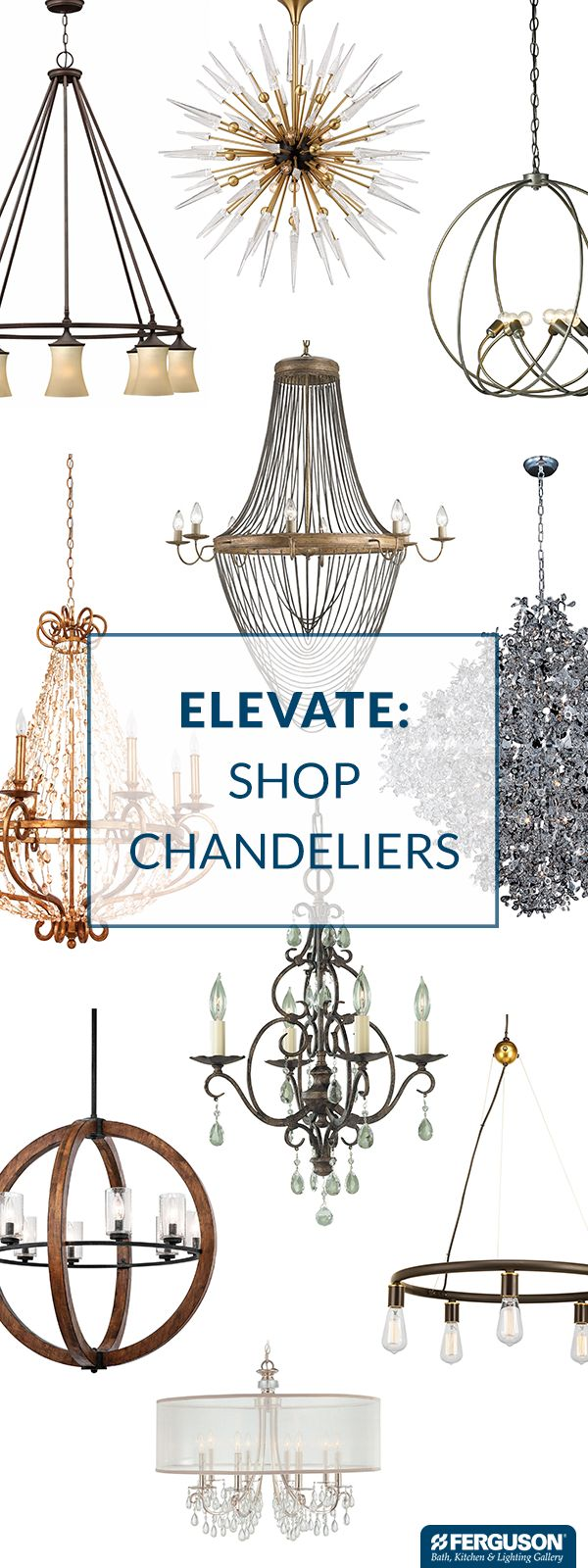 "Complete your dining room with a show-stopping chandelier from Ferguson Bath, Kitchen & Lighting Gallery. There's a chandelier for every style, whether you want classic elegance, bold contemporary or any look in between. A chandelier should be around 12"" smaller in diameter than the width of the table it hangs over. Ideally, the bottom of the chandelier should be 30 inches above the surface of your table. One of our knowledgeable product experts can help you select the perfect size."