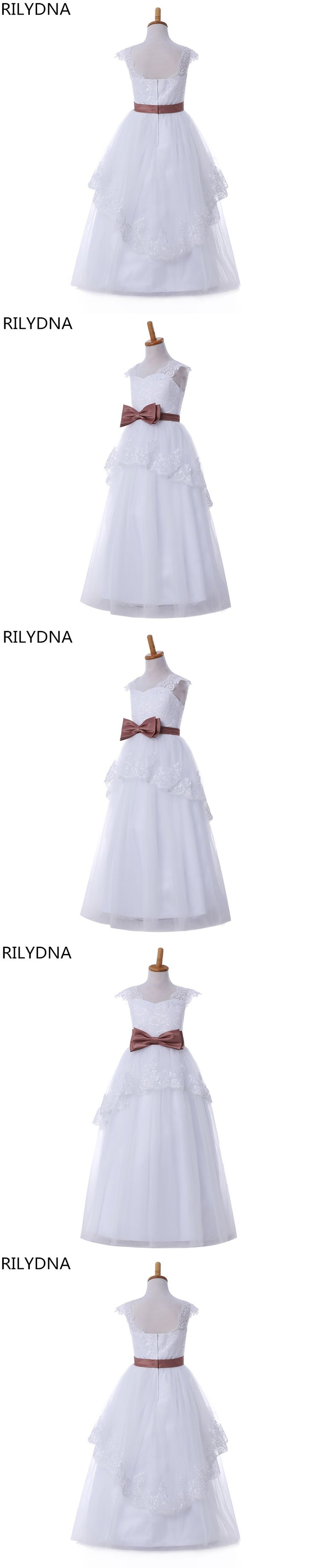 Flower Girl Dresses For Weddings Ball Gown V-neck Tulle Appliques Lace Bow First Communion Dresses For Girls