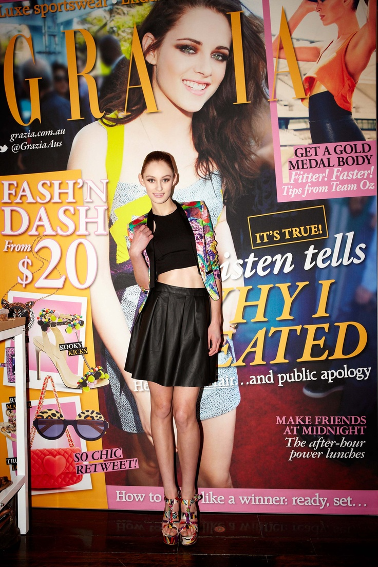 Bardot leather look skirt & floral jacket in front of Kristen Stewart Grazia cover @ 30Days of Fashion & Beauty