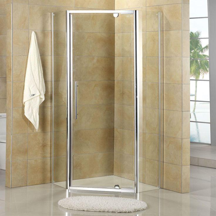 "38"" x 38"" Owen Neo-Angle Corner Shower Enclosure - with Tray - Polished Aluminum"