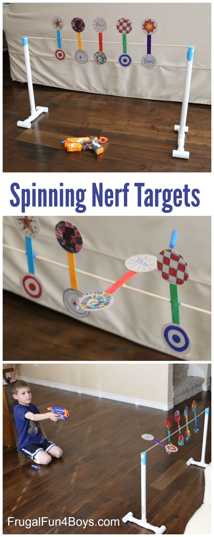Build a Nerf target game with spinning targets!  This simple game is fun to make and does not require a lot of special materials.   We used a dowel rod, cardboard from a cereal box, and a simple PVC pipe frame to build this target. The targets rotate on the dowel so that they spin...Read More »