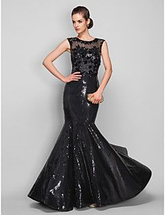 TS+Couture®+Formal+Evening+/+Military+Ball+Dress+-+See+Through+/+Beautiful+Back+Plus+Size+/+Petite+Trumpet+/+Mermaid+Scoop+Sweep+/+Brush+TrainTulle++–+USD+$+143.99