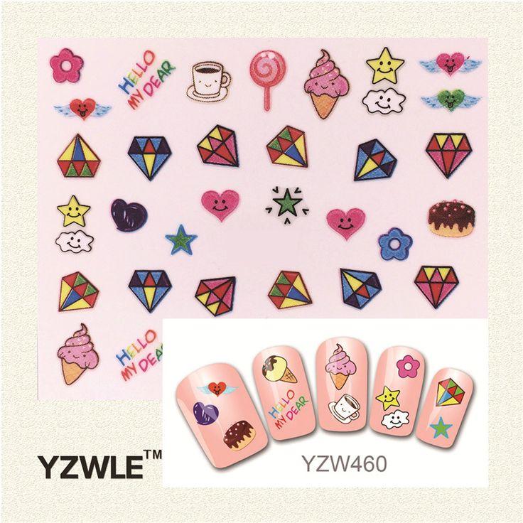 Yzwle 패션 스타일 3d 디자인 귀여운 diy 만화 화려한 다이아몬드 팁 네일 아트 네일 스티커 손톱 데칼 매니큐어 네일 도구