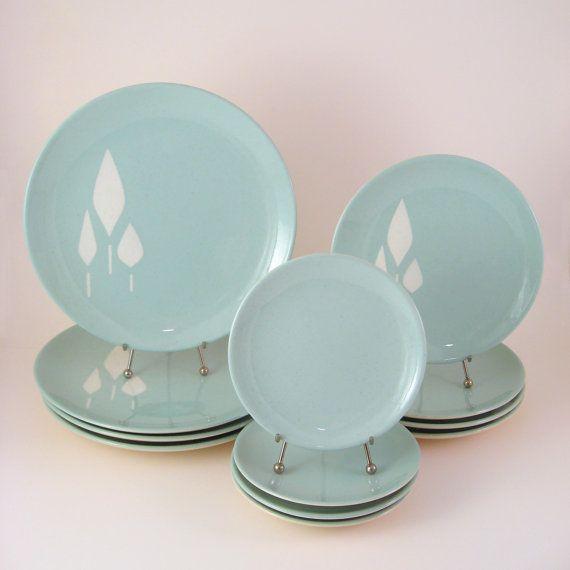 vintage franciscan dinnerware set service for 4 cypress midcentury modern dishes 1960u0027s - Modern Dinnerware