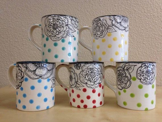 16oz. flower outline mug with polka dots by MelissaAnnPottery