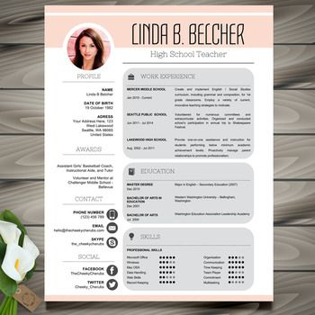 Teacher Resume Template + Cover Letter And References   MS PowerPoint  EDITABLE