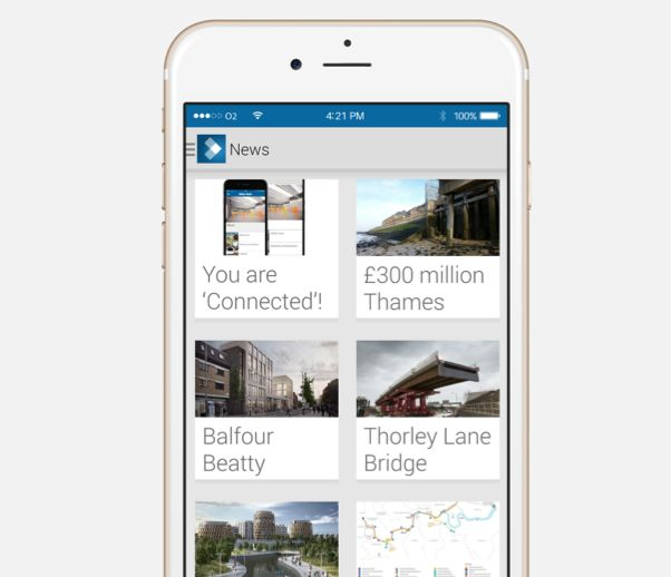 Balfour-Beatty's mobile news app. More screenshots in the article.