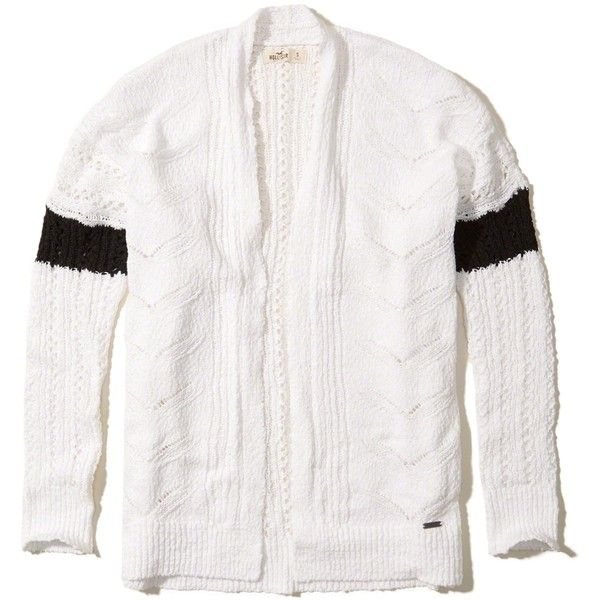 Hollister Open Stitch Slouchy Cardigan (2.355 RUB) via Polyvore featuring tops, cardigans, white, short-sleeve cardigan, open knit top, white striped top, white striped cardigan и open knit cardigan