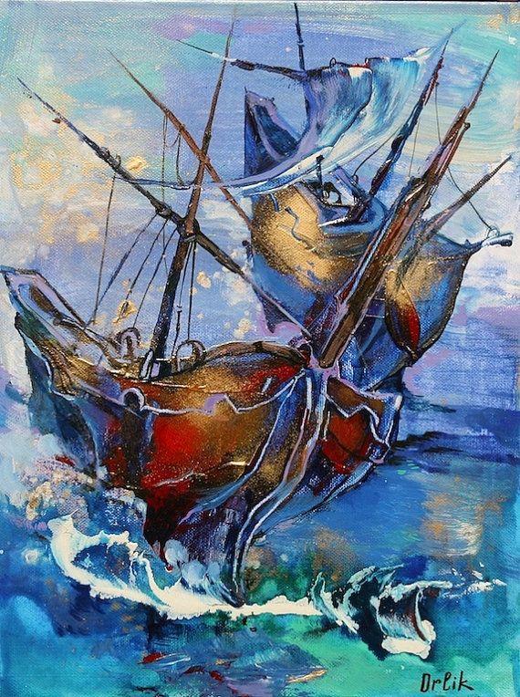 Modern Art on canvas Original Small Painting Acrylic colors 30x40cm  Wall Art by Inna Orlik