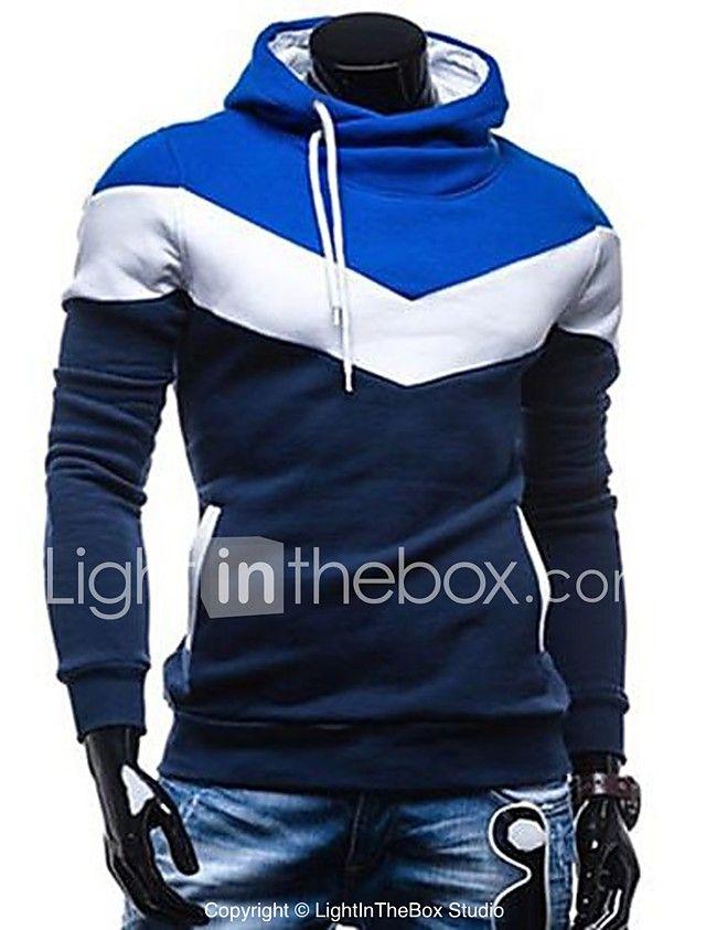 Hombre Tallas Grandes La chaqueta con capucha Casual/Diario Deportes Sencillo Bloques Cuello Alto Microelástico Algodón Manga Larga 2017 - $29287
