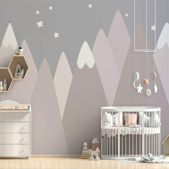 Hand Painted Dusty Pink Geometric Mountain Wallpaper Wall Mural Grey Color Tringle Geometric Mountains Nursery Kid Children Room Wall Mural Wandtapete Altrosa Schlafzimmer Und Tapeten