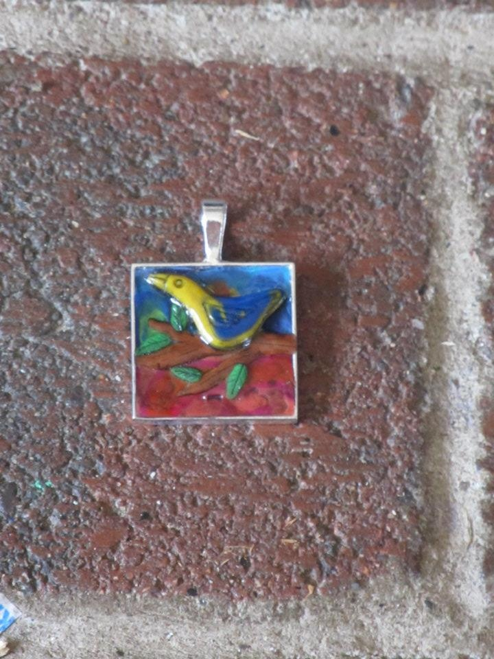 Trudi Inglis - Blue Kiwi Krafts  Polymer Clay pendant