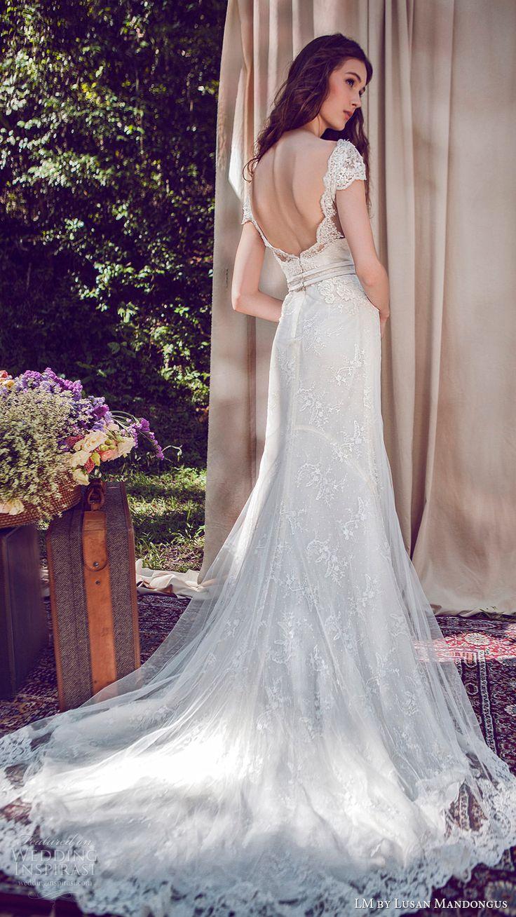 lm lusan mandongus bridal 2017 cap sleeve illusion bateau neck lace sheath wedding dress (lm3027b) bv open back train