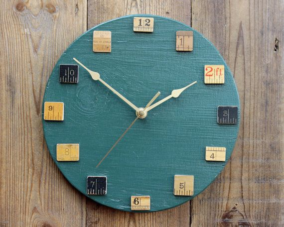 Wall Clock Green with Vintage Upcycled Wooden Rulers on Etsy, $68.62