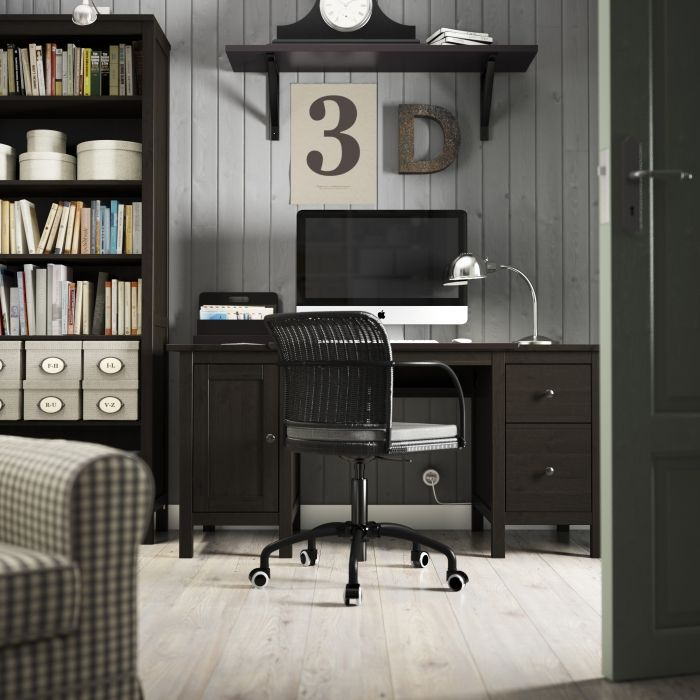 A Brown Home Office With HEMNES Table And Bookcase In Black GREGOR Chair