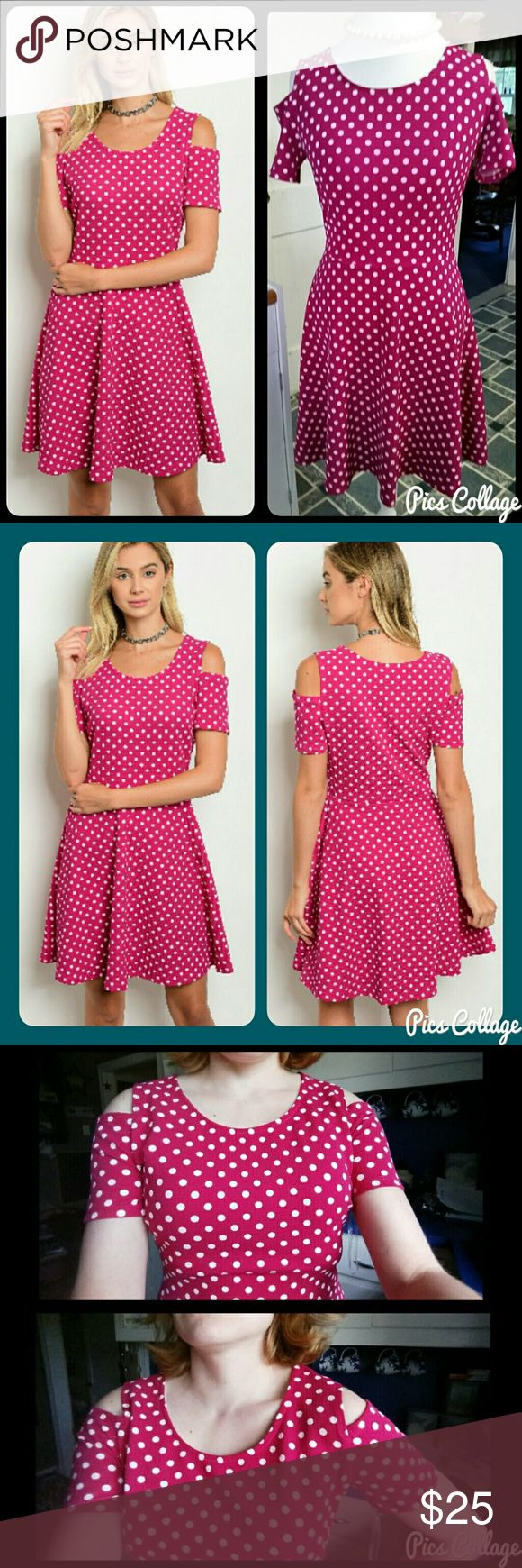 Magenta Polka-Dot Dress Magenta dress with white polka-dots and cold-shoulder design. Fabric is puckered all over. Dream at waist for slightly flared effect. Fits true to size. Polyester/spandex. Light, swingy, & fun! Jewely's Justifiables Dresses