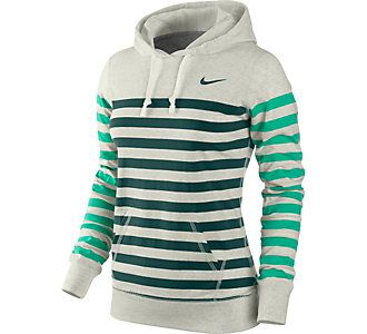 Nike womens stripe jersey hoodie, does it come in purple stripes I wonder? would be great for after workouts when I need to run errands.
