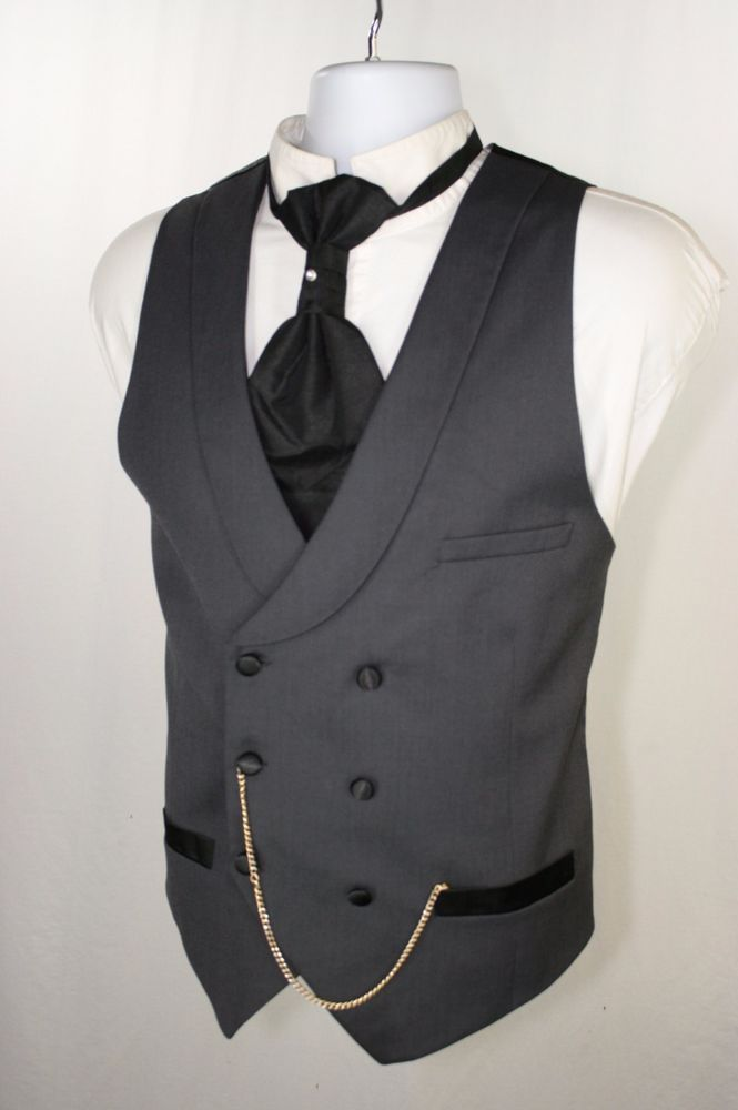 SOLD! $50 Grim Undertaker H&M Gray Tux Double Breast Vest Men 42 Steampunk Cowboy SASS 012 #HM