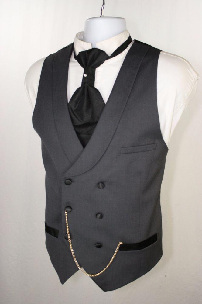 SOLD! $50 Grim Undertaker H&M Gray Tux Double Breast Vest Men 42 Steampunk Cowboy SASS 012 #HM