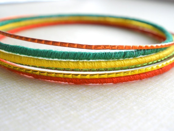 Thrift Shop skinny bangles - rasta set by urijewelry :)