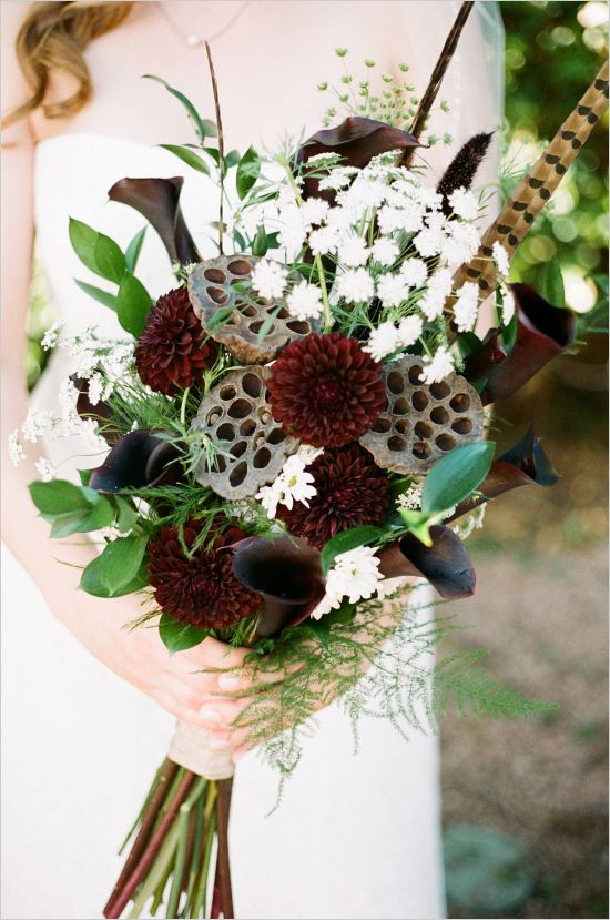 red, green and brown wedding bouquet