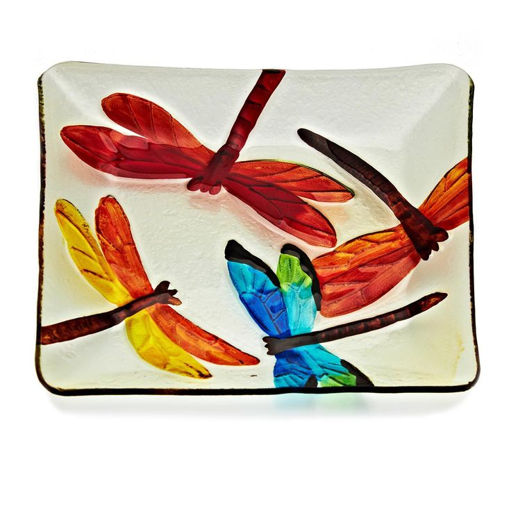 Slumped Hand-Painted Dragonfly Square plate                                                                                                                                                     Más