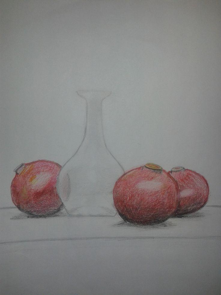 Gránátalmák vázával. (Lányom (16) rajza)