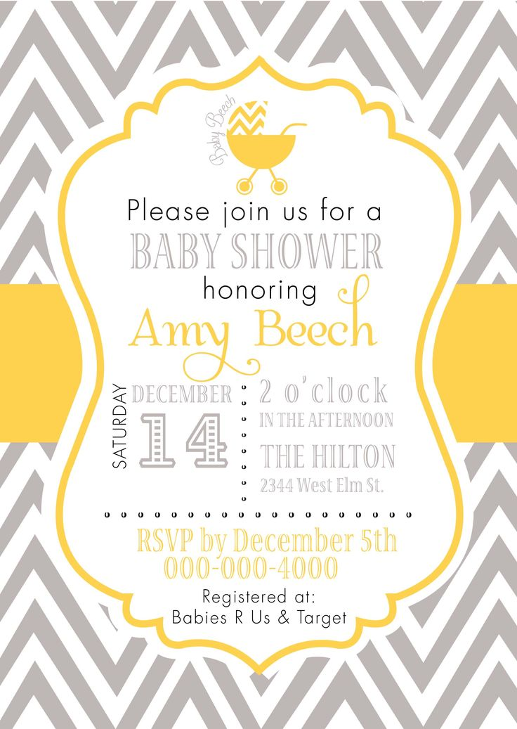 grey and yellow baby shower invitations - Google Search