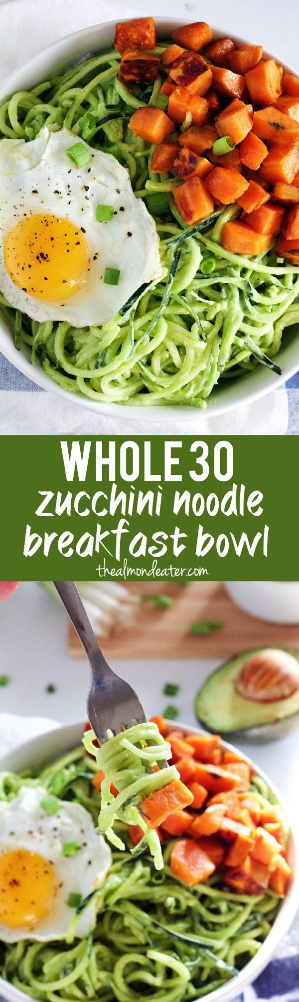 Zucchini noodle covered in a creamy avocado sauce and topped with sweet potatoes and a fried egg #Whole30