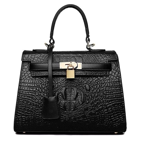 Crocodile Print Solid Color Pendant Tote Bag (€25) ❤ liked on Polyvore featuring bags, handbags, tote bags, crocodile tote, croco handbags, croc embossed handbag, crocodile purse and croc handbags