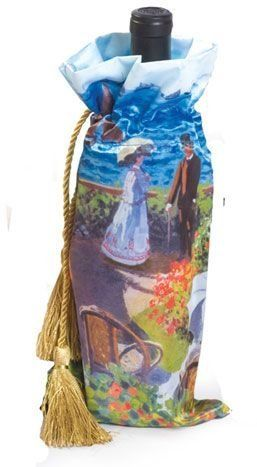 "Pack of 6 Monet Art Wine Bottle Gift Bags - Garden at Sainte-Adresse by CC Home Furnishings. $70.00. Pack of 6 Wine Bottle Gift BagsThese classic works of art hold 1 standard size wine bottlePrint: Garden At Saint AdresseItem #PSA-414GARDReproductionDimensions: 7""W x 13""H"