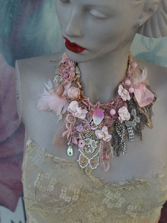 Inspiration- Baroque era, refined pink shades, nature, antique textile..Bohemian statement necklace with shabby chic details and some sparkle & fairytale feel..Made of antique/vintage laces and trims. Hand sewn in antique lace base, embroidered and beaded- blooms, beading, vintage trims., vintage french ab crystals, findings.. - hand dyed silk pieces, hand sculpted petals,rose quartz pearls, antique beaded silk net applique. The necklace has delicate partial silk lining so it is comfortable…