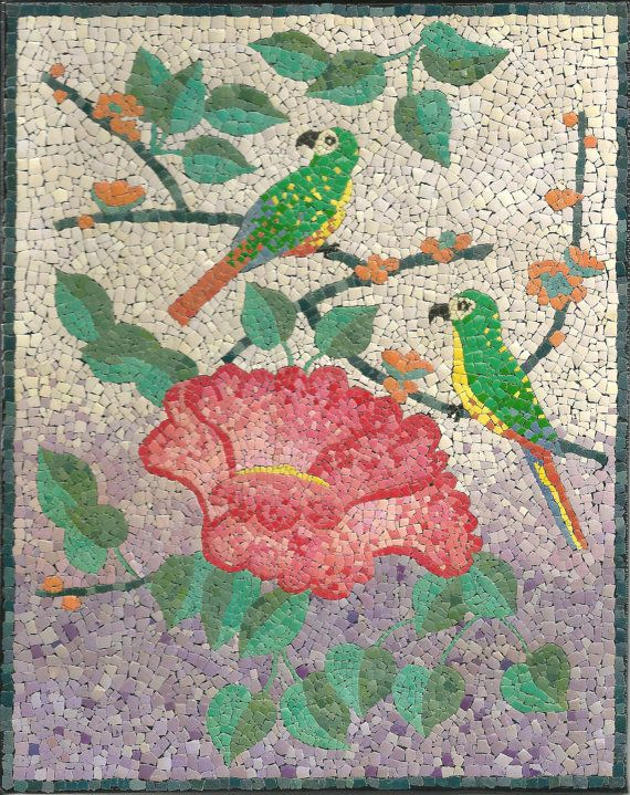 Home Decor Flower and Birds Original Painting Mixed от MariaArts, $200.00