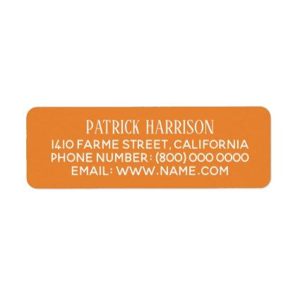 return address contact information on orange label - return address labels label diy personalize cyo unique design custom