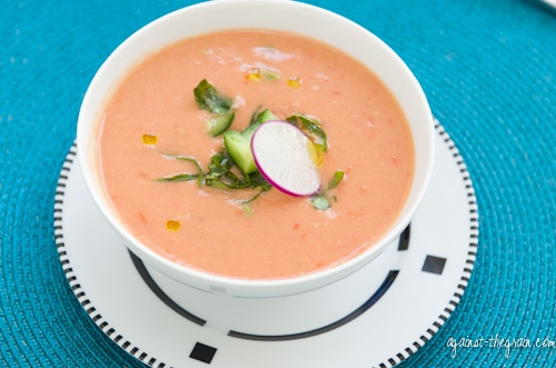 Creamy Gazpacho (with avocado, tomatoes, cukes, bell peppers)