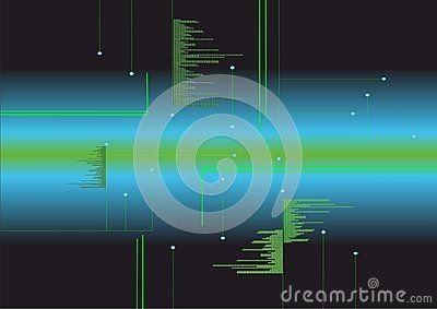 Vector fictitious circuit with blue and green gradient Background.