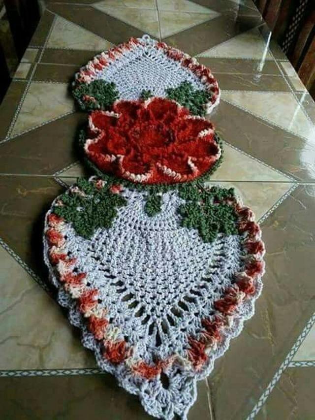 Novos Modelos De Caminhos De Mesa Em Crochê Big Flor Com