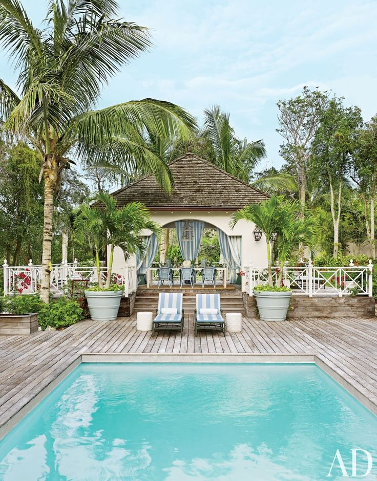 Beach Pool by Miles Redd in Lyford Cay, Bahamas.    [Blog] Pinterest Top 40 Colorful Beach House Interiors with Decorative Rugs.
