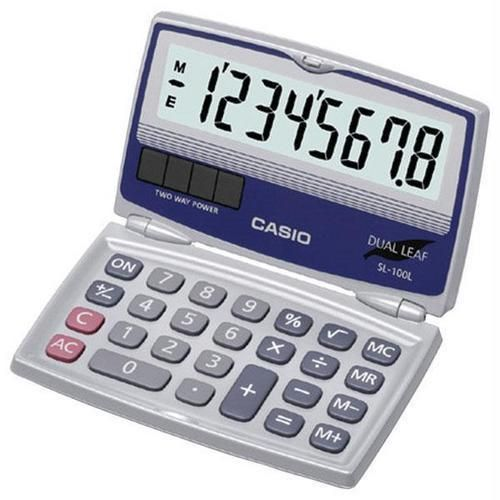 CASIO(R) SL-100L Solar Calculator with Folding Hard Case R810-CIOSL100L